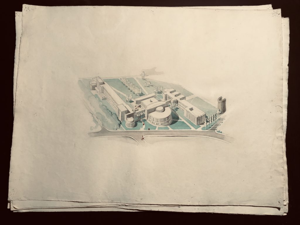 Denis Honegger 8 Rare Large Architectural Drawings Project for the Misericorde